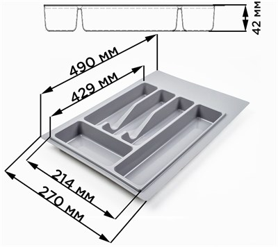 Лоток для столовых приборов (В базу 300-350) - фото 17875